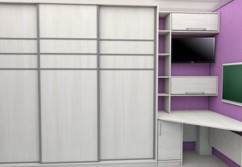 Шкаф-купе встроенный и стол